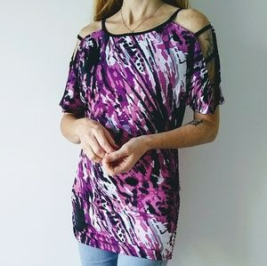 French Atmosphere Cold Shoulder Animal Print Top
